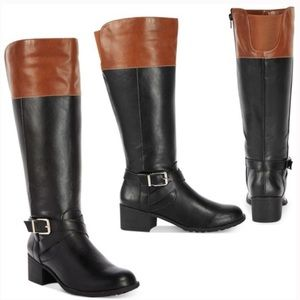 Colorblock Cognac/Black Chic Knee High Riding Boot